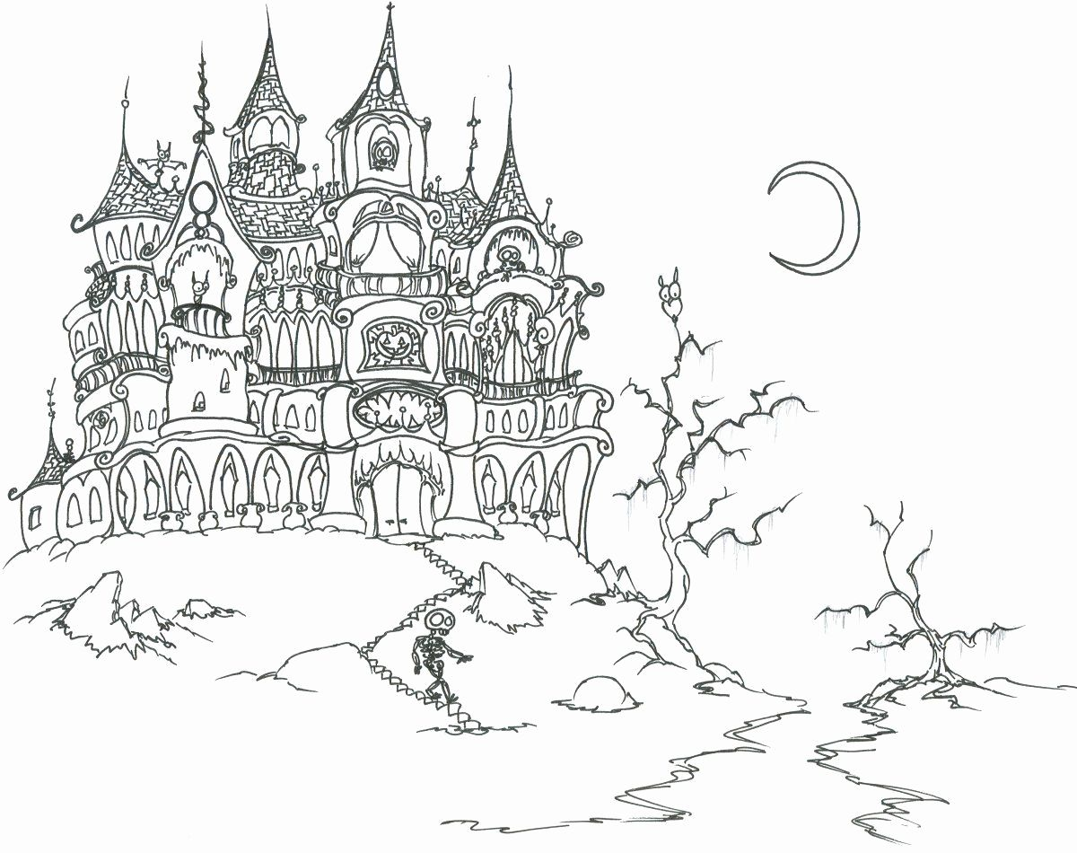 Free Printable Coloring Pages Haunted Houses Unique Printable Gothic Color In 2020 Halloween Coloring Pages Printable Halloween Coloring Sheets Halloween Coloring Book