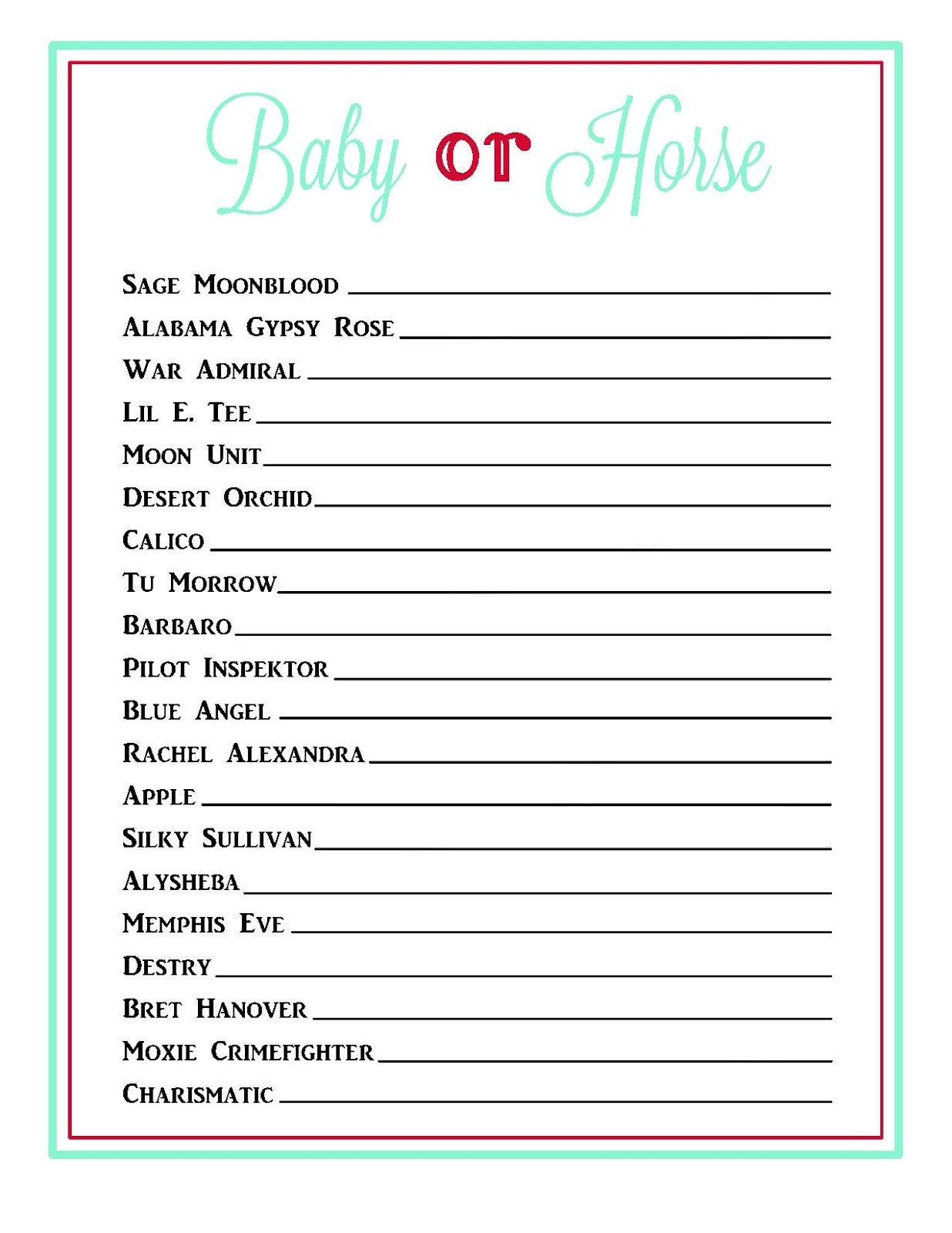 Celebrity Baby Name Game Template, Celebrity Baby Names ...