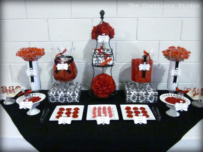 black and white damask graduation creationz red and black candy buffet