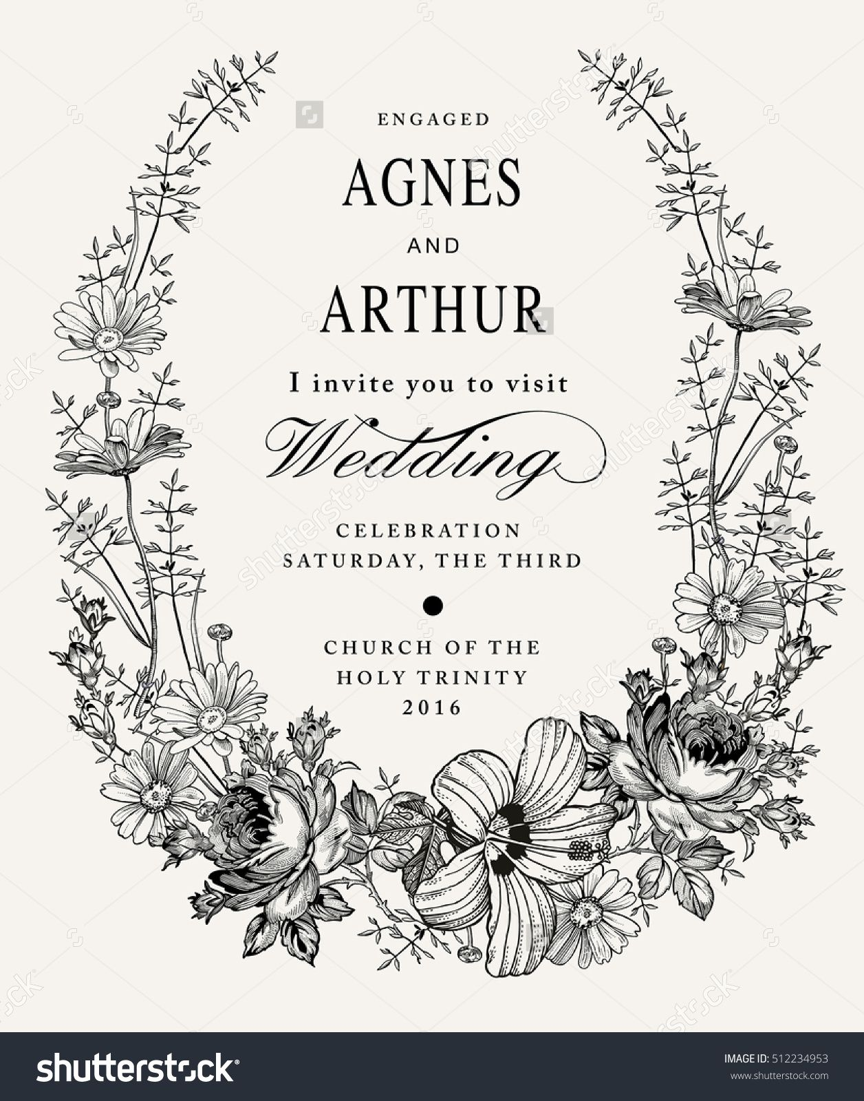 Wedding Invitation Beautiful Blooming Flowers Vintage Greeting