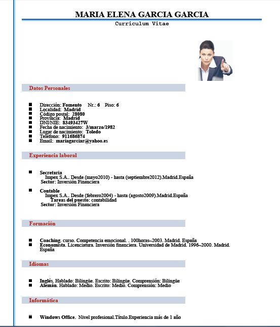 Hacer Curriculum, Modelos De Curriculum Vitae
