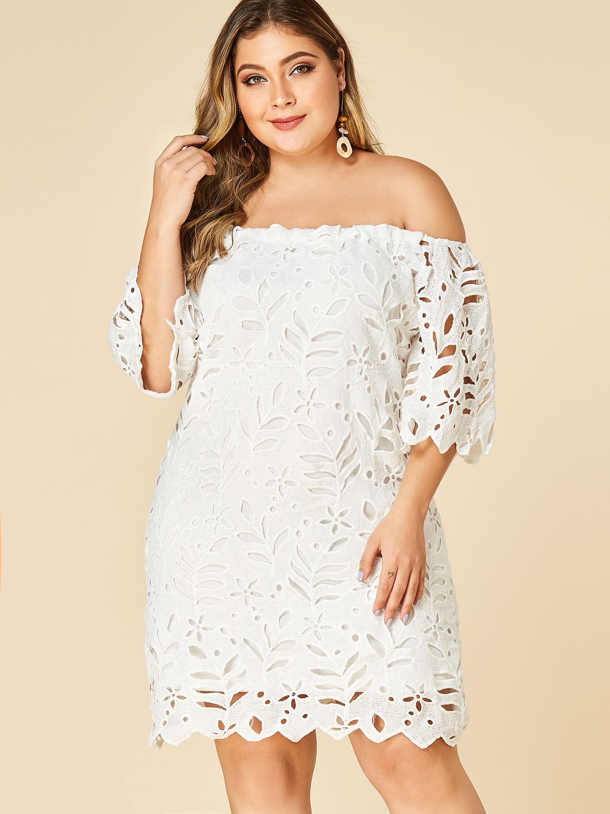 Off Shoulder Hollow Out Lace Dress Mixed Shop Lace White Dress Half Sleeve Dresses Lace Dress