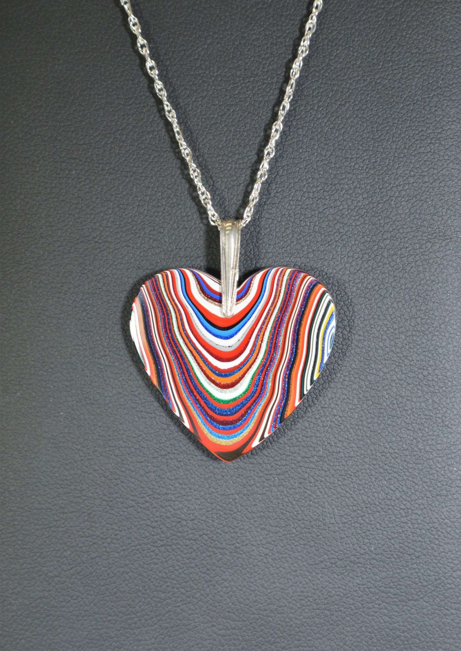 Upcycled Car Paint Motor Agate Fordite Cabochon Sterling Silver Necklace Made in Michigan Corvette Fordite Diamond-Shape Pendant