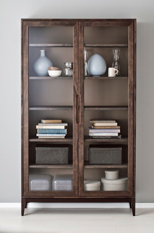 IKEA - REGISSÖR, Glass-door cabinet , Wood is a natural living material,  and variations in the grain, colour and