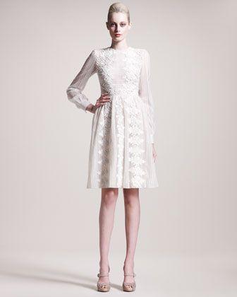 Vestido novia corto de manga larga by Valentino at Bergdorf Goodman.