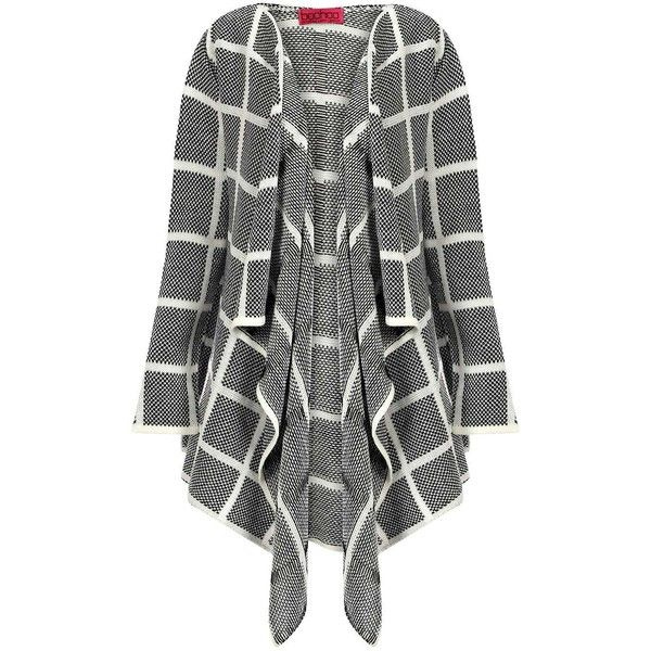 Boohoo Amy Check Waterfall Cardigan ($26) ❤ liked on Polyvore featuring tops, cardigans, checkered top, flat top, black flat top, black waterfall cardigan and black top