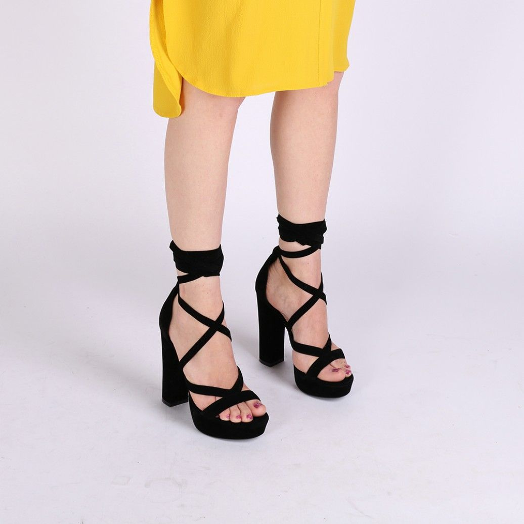 c8917652c0114 Stella Lace Up Heels in Black Faux Suede in 2019 | Shoes | Black ...