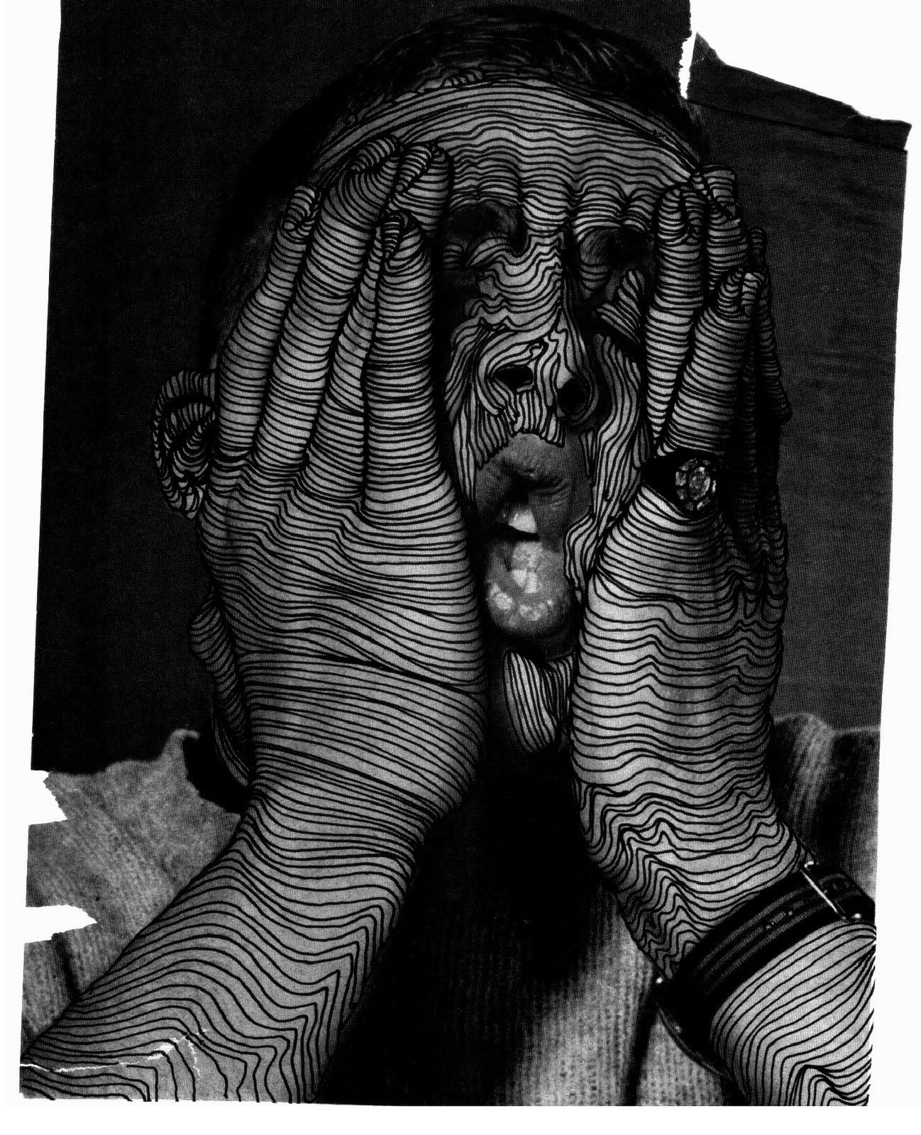 Drawing on photos cross contours use silver pen on black paper or maybe scratchboard high school art drawing lesson