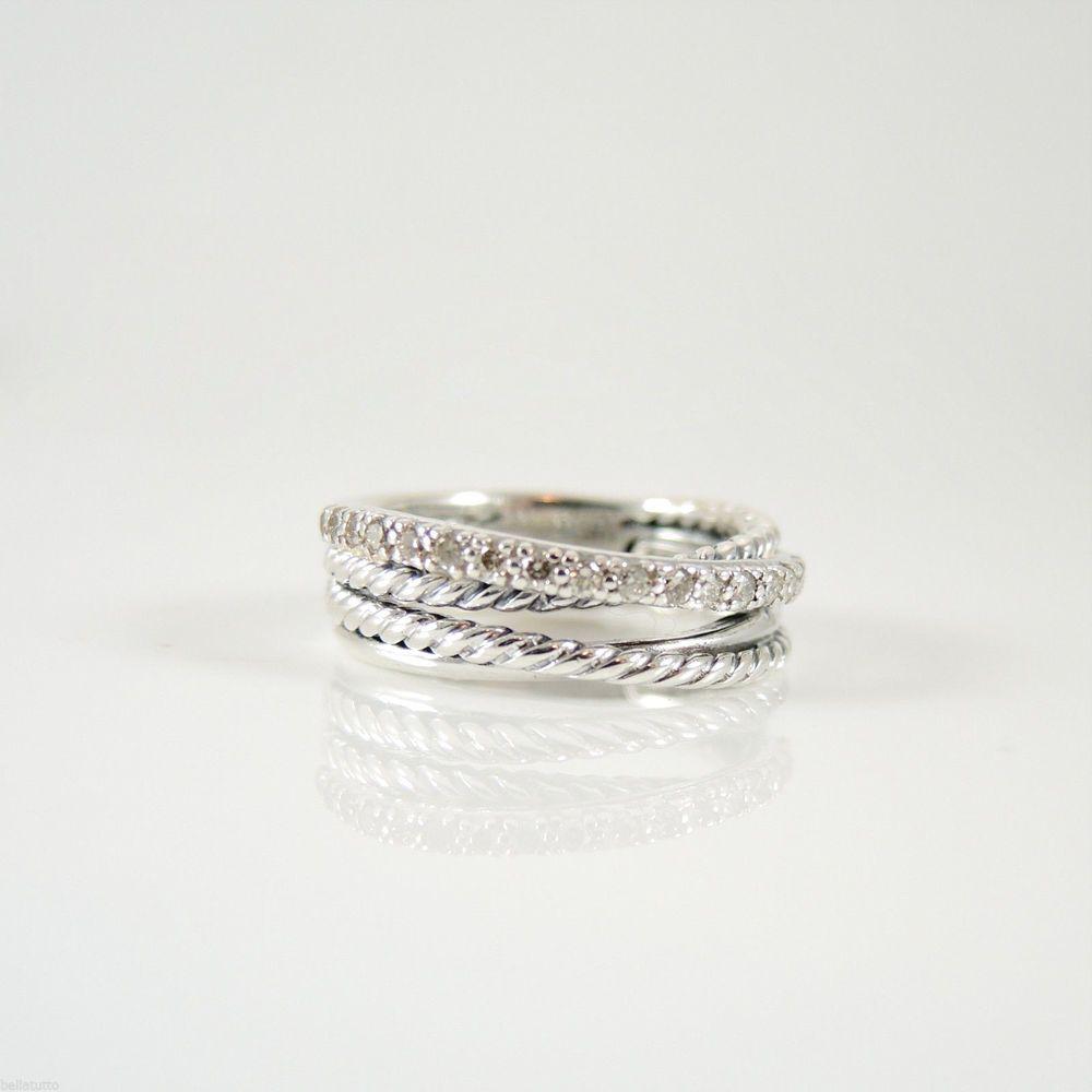 David Yurman Sterling Silver 18tcw 7mm Diamond Crossover Band Ring # Davidyurman #band
