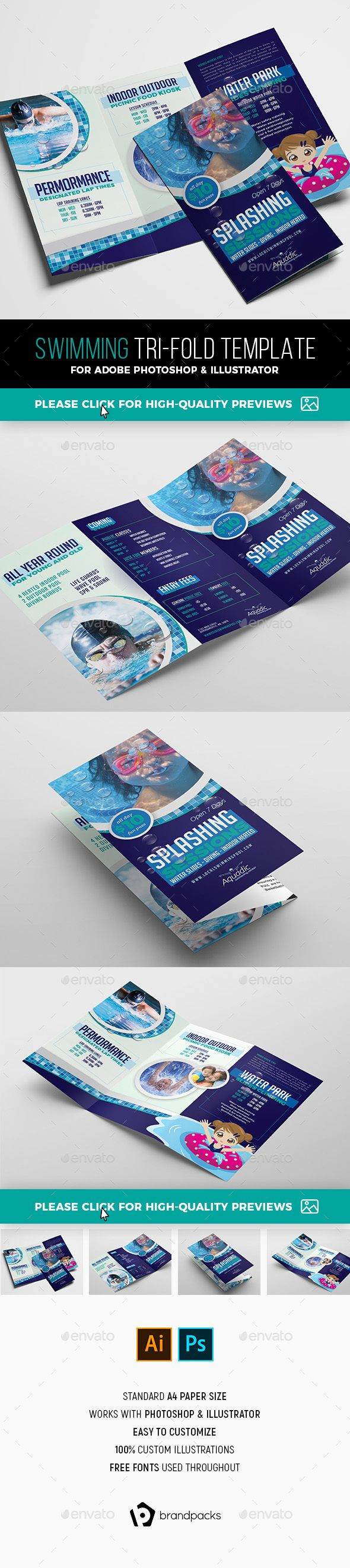 local swimming pool tri fold brochure template informational