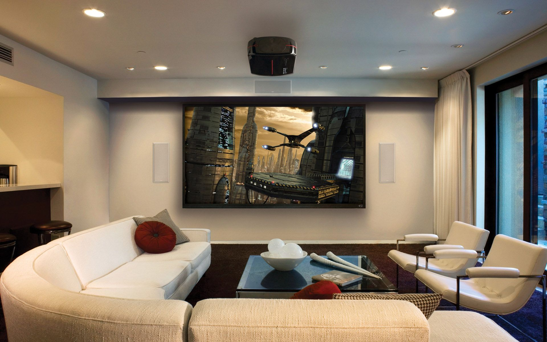 wonderful home theater layout design with white sectional sofa gray cushions white armchairs and glass table cool projector ceiling lights big screen with