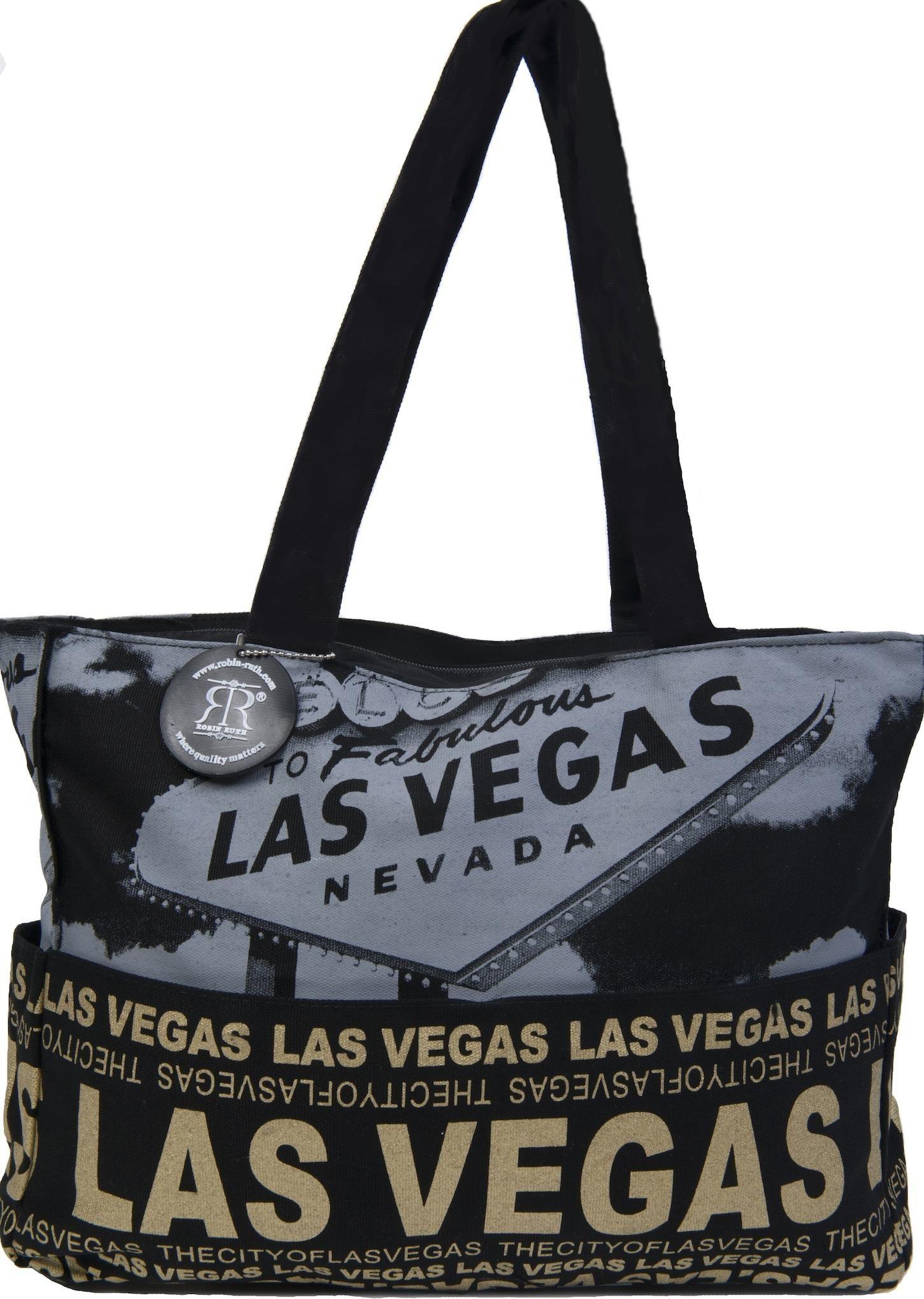 Souvenir Tote Bags Robin Ruth Las Vegas Bag Black Canvas