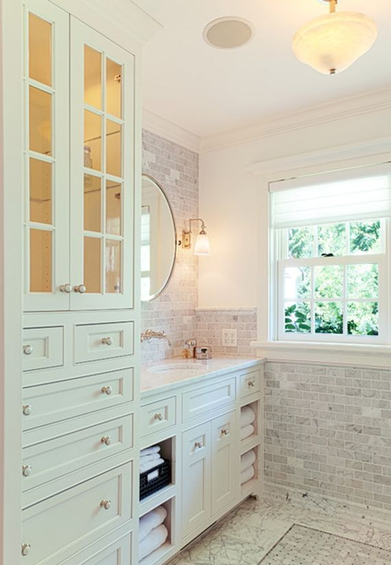 Bathroom Vanity With Tower Cabinet Home Pinterest Bathroom - Bathroom vanities with tower storage