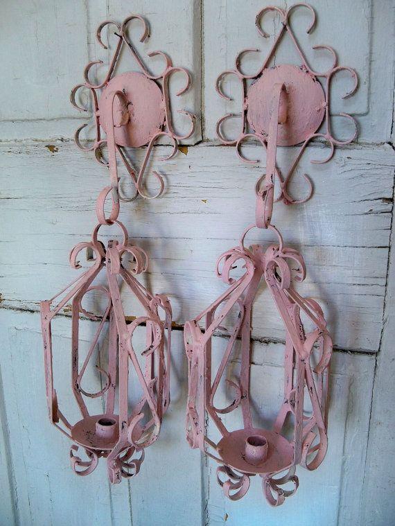 Pink shabby chic vases