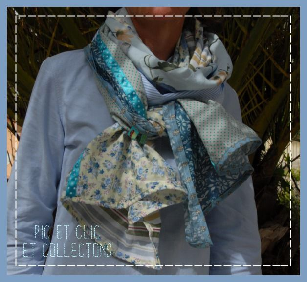 chèche foulard écharpe patchwork 6 couelurs tendres !   Echarpe, foulard,  cravate par pic-et-clic-et-collectons 0f1361578ab
