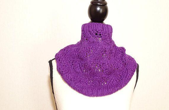 Col snood femme violet prune tricoté main, col prune en laine alpaga et  soie, a17db41ccea