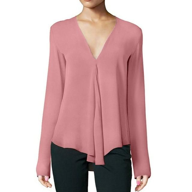 c67020715 MCCKLE Women V-Neck Chiffon Blouse Long Sleeve Solid Color Ladies Shirt  Tops Female Casual Office Blouse Plus Size-JetSet-JetSet
