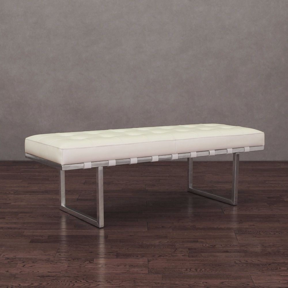 Living Room Bench Seating Leather Bench Furniture White Entryway Seat Upholstered Living