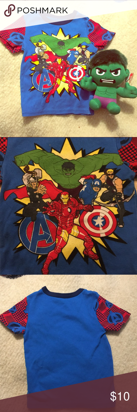 Avengers T shirt & toy EUC 3T Kids Tee- Disney and Marvel- THE AVENGERS! 100% cotton (Hulk Beanie Baby-NWT comes with purchase.) NO TRADES Disney Shirts & Tops Tees - Short Sleeve