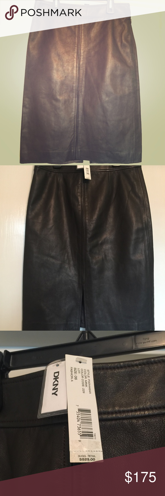 c13d2c1c5a DKNY chocolate brown leather skirt NWT Beautiful DKNY chocolate brown  leather pencil skirt size 6. Never worn. DKNY Skirts Pencil