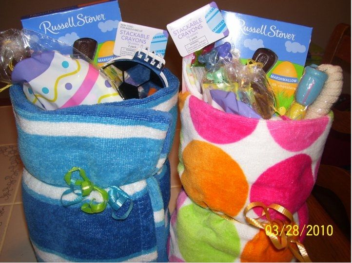 Easter baskets use beach towels so cute more useful than a frugal easter idea beach towel baskets also good for summer birthday gifts negle Images