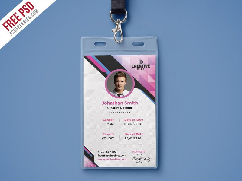 Free PSD  Company Photo Identity Card PSD Template Psd - id card psd template