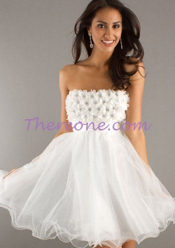 Short Strapless White Prom Dress http://www.thereone.com/graduation ...