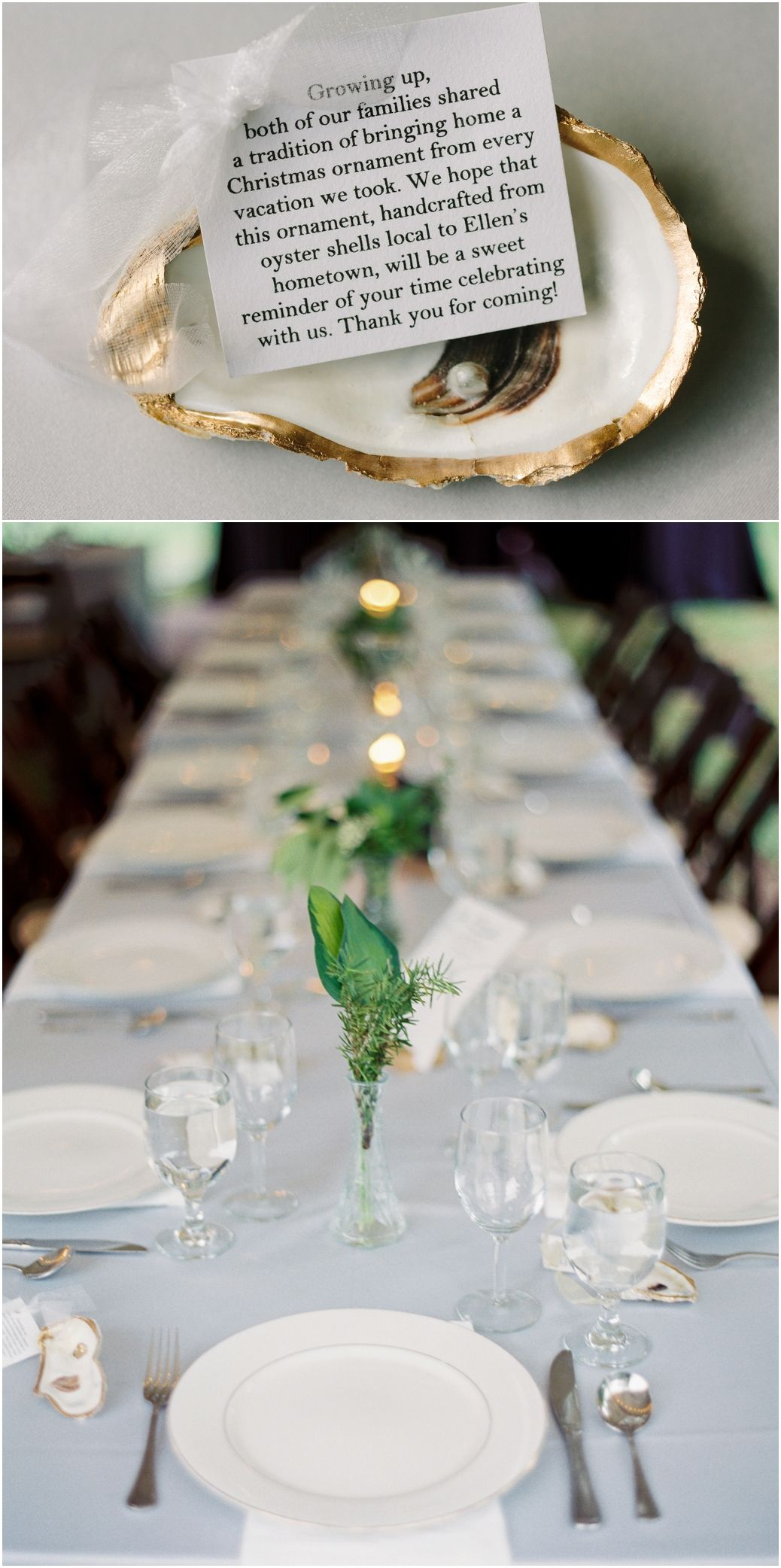 Wedding Favor Idea - Oyster Shell Ornaments With