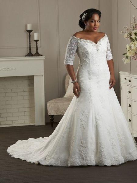vestido de novia tallas grandes corte sirena con mangas en encaje