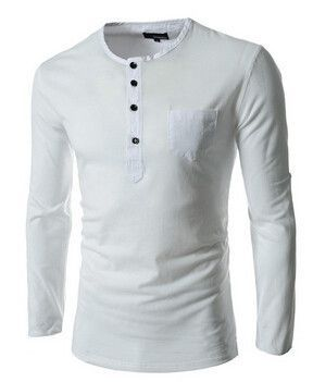 1849a0f49ac Hot new spring autumn 2015 men s long-sleeved round neck collar shirt Slim  solid fashion high quality men t shirts M~XXL