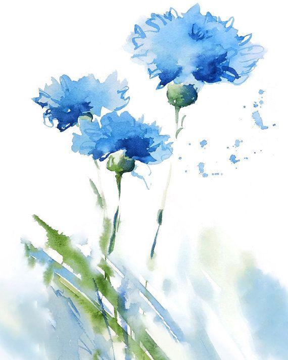 Cornflower Art Print Watercolor Painting Blue Flower Art Abstract