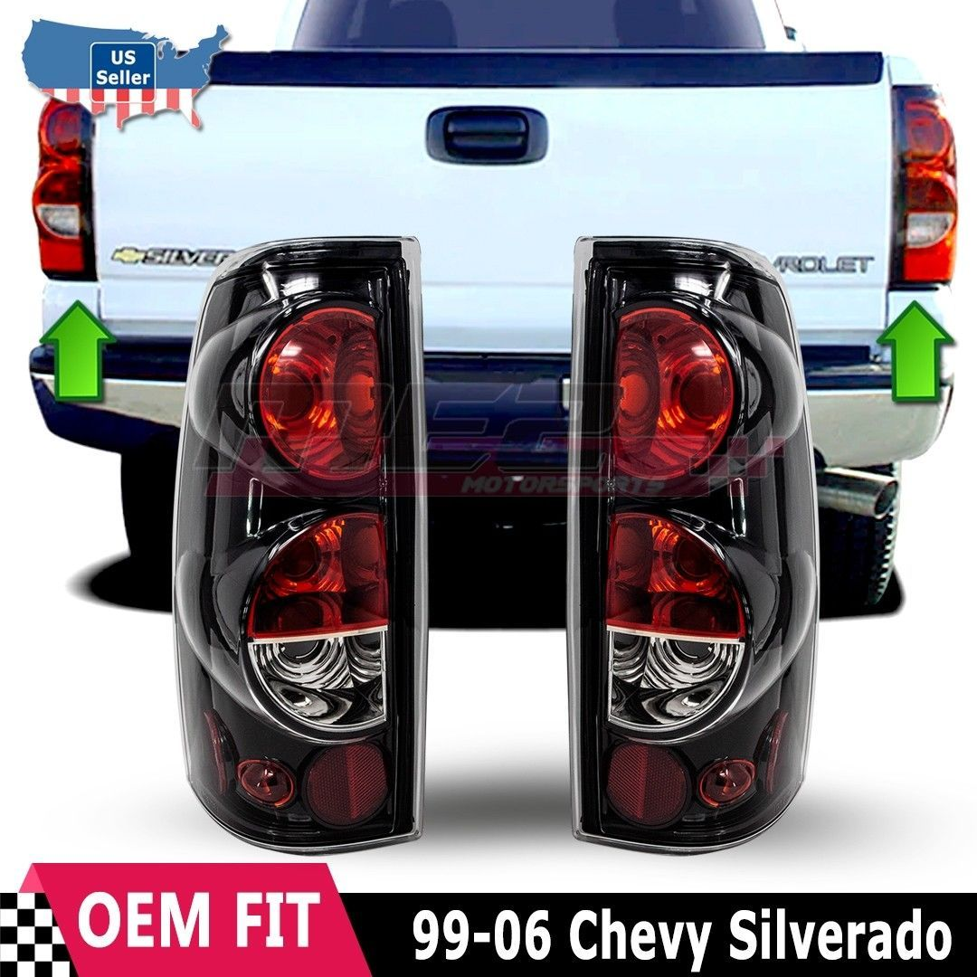 For 99 06 Chevy Silverado 99 03 Gmc Sierra Glossblack Clear Tail Light Lamp Set In 2020 Diesel Trucks Chevy Silverado Trucks Lifted Diesel
