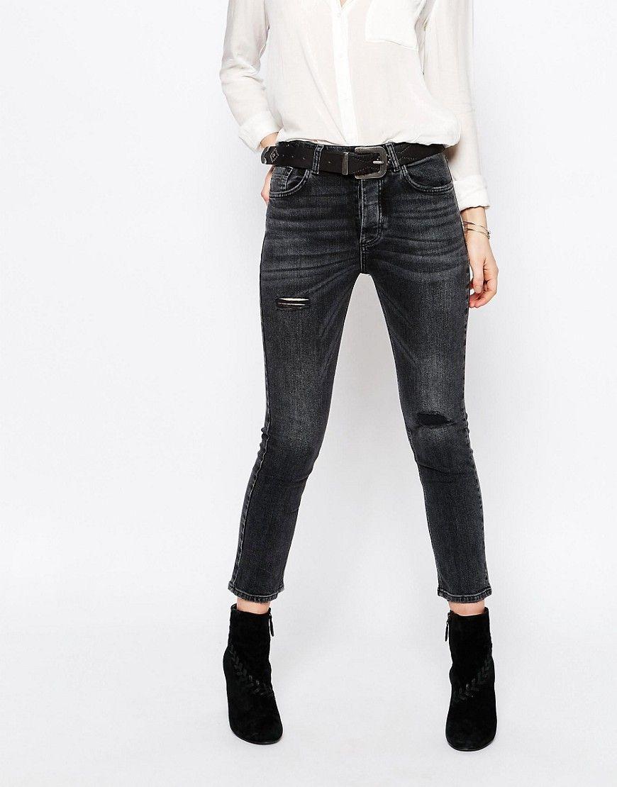 hoch gelobt offizieller Laden Online-Shop Pull&Bear Distressed Slim Jeans - Black | Products | Jeans ...