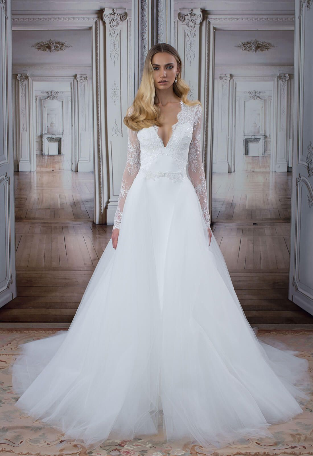 Style no 14483detachable skirt wedding dress with long for Kleinfeld wedding dresses with sleeves