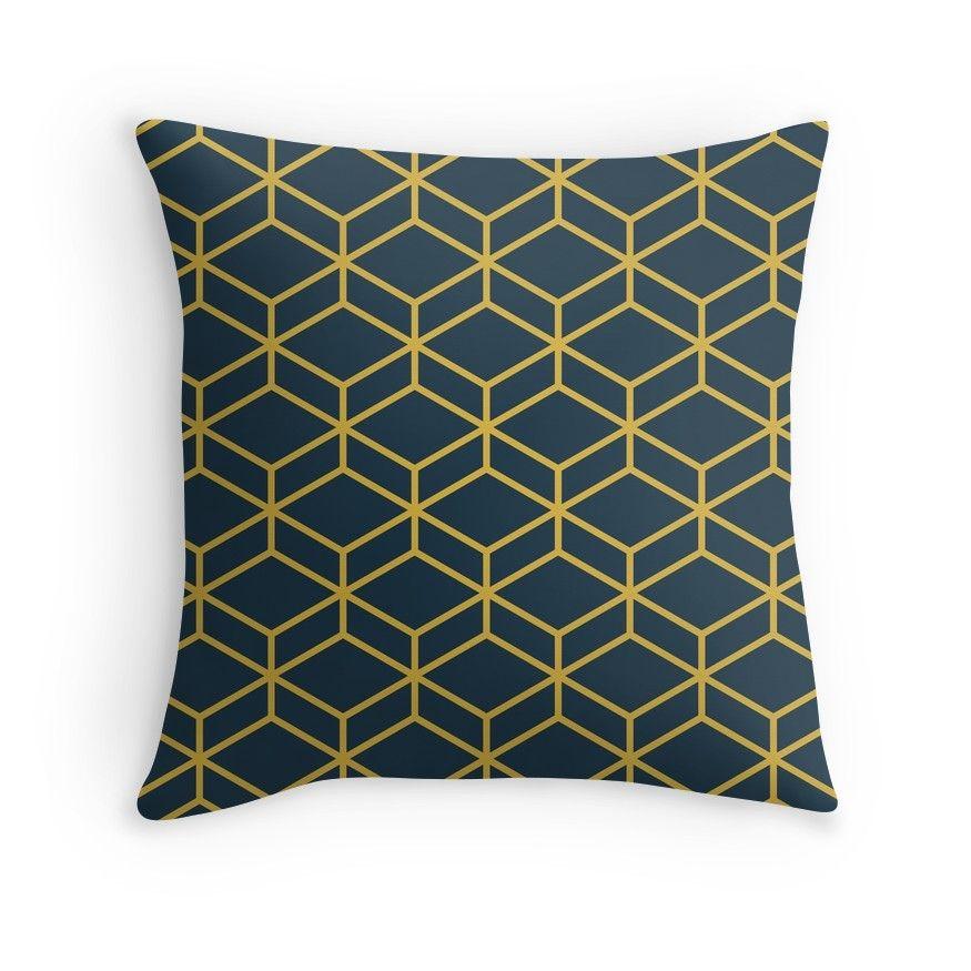 Honeycomb Geometric Lattice In Navy Blue And Light Mustard Yellow Throw Pillow By Kierkegaard Yellow Throw Pillows Throw Pillows Throw Pillows Bed
