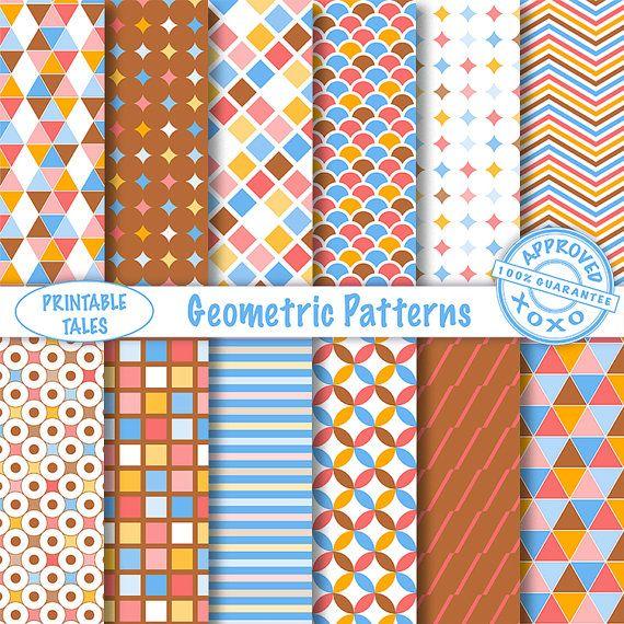 Geometric patterns digital papers 'Geometric by PrintableTales