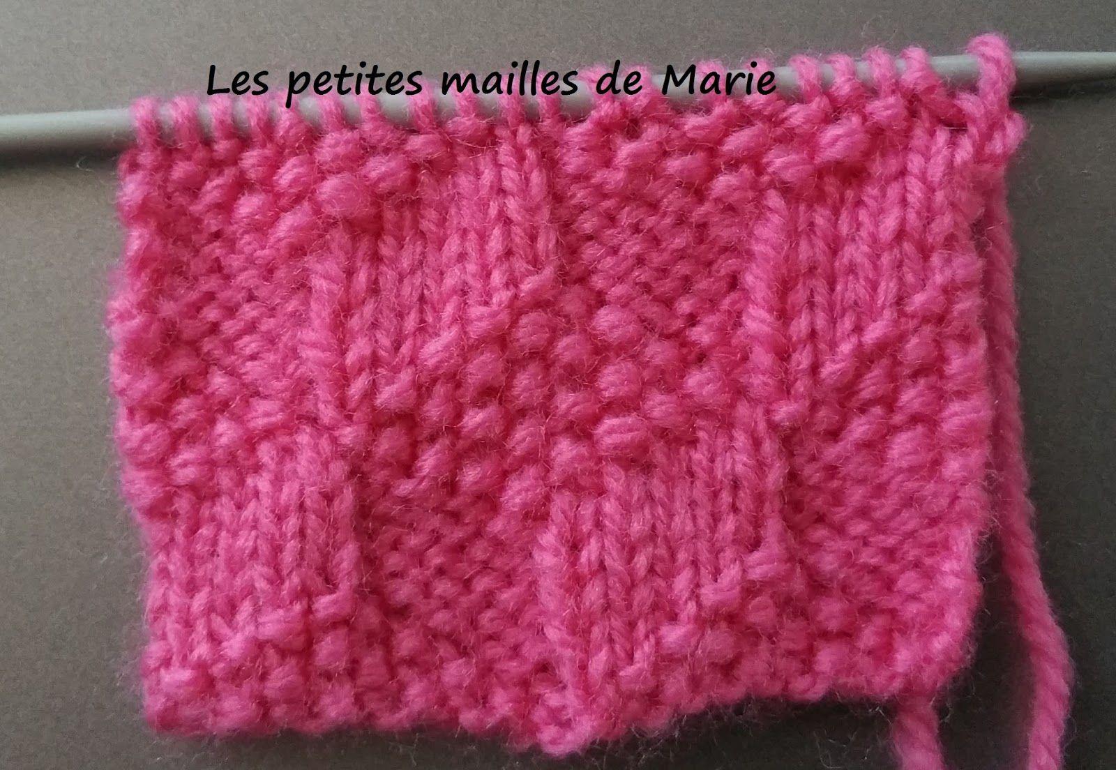 Les petites mailles de Marie: Point carrés en 3 D | Tricot