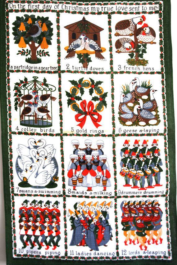 Ulster 12 Days Of Christmas Tea Towel Vintage Happy Holidays Etsy Christmas Tea 12 Days Of Christmas Vintage Christmas