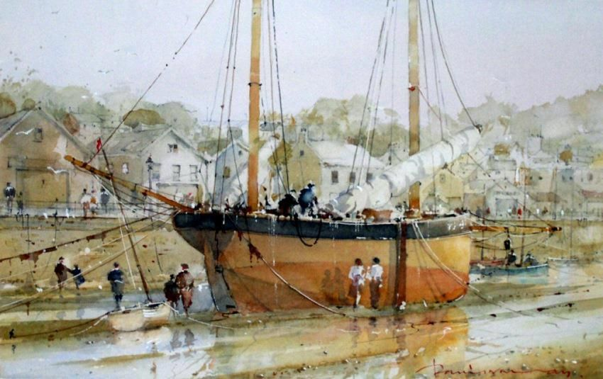 watercolour by David Norman (UK) Dry Dock, 43 x 20 cm.