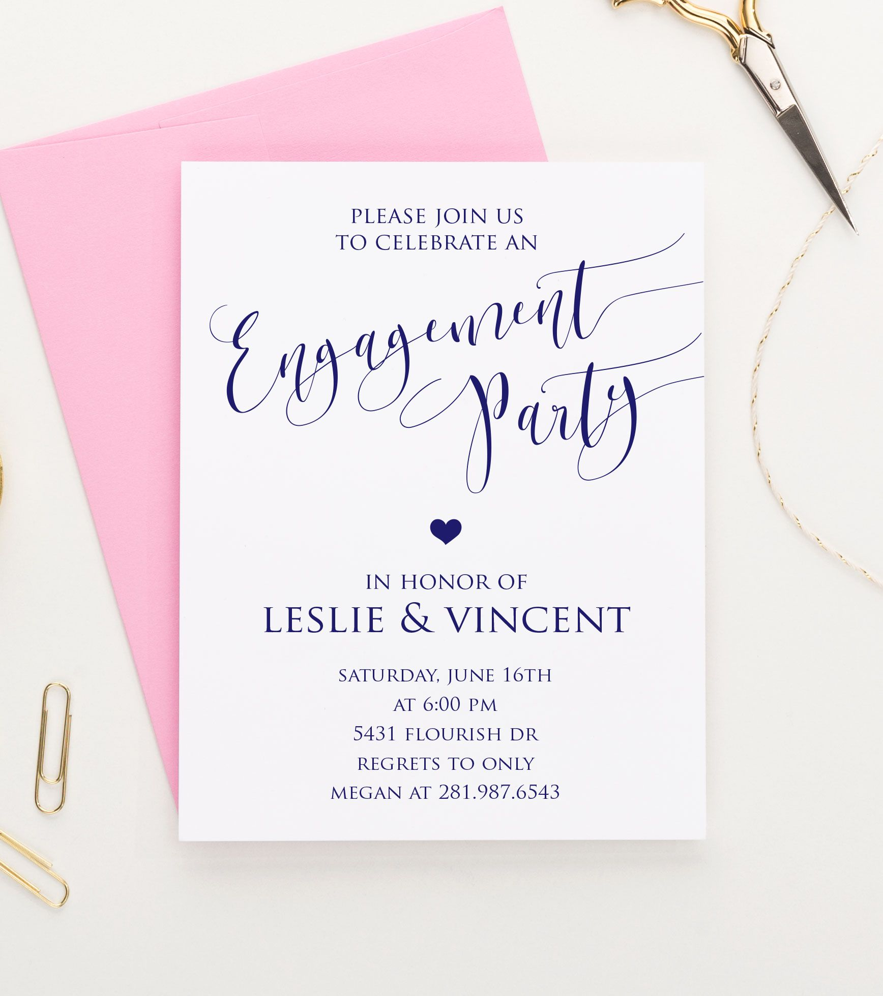 Elegant Engagement Party Invitations, Calligraphy Engagement Party ...