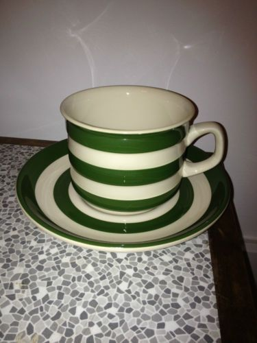 Cornishware Cloverleaf T G Green green striped cup and saucer