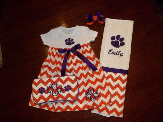 Baby Girl Clemson Gift Set by SewSweetTs on Etsy