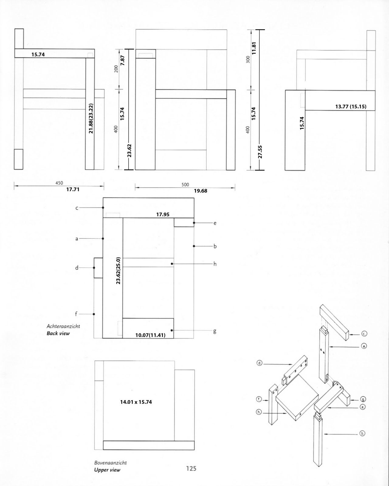 Steltman chair rietveld chair plans etear sheet for Sillas para planos