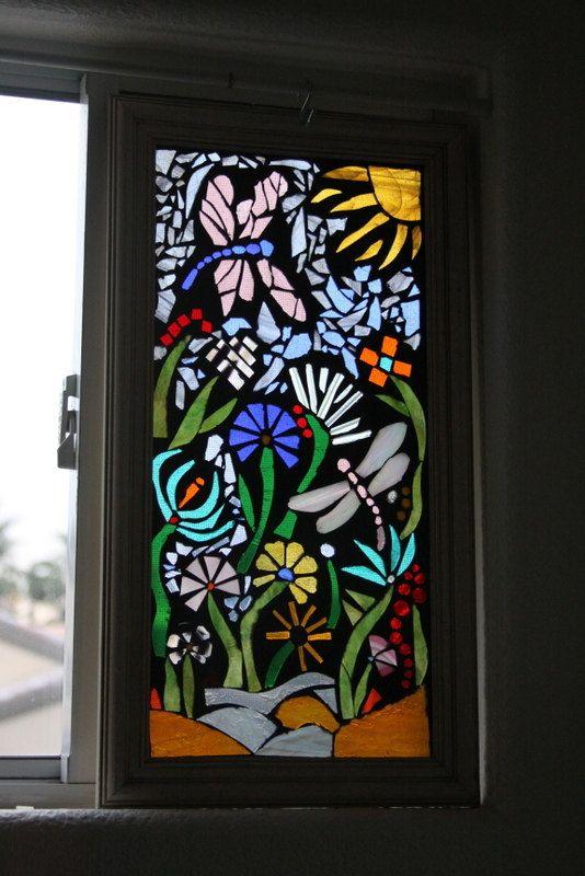 Glass on glass mosaic, dragonfly, flowers, original. $60.00, via Etsy.