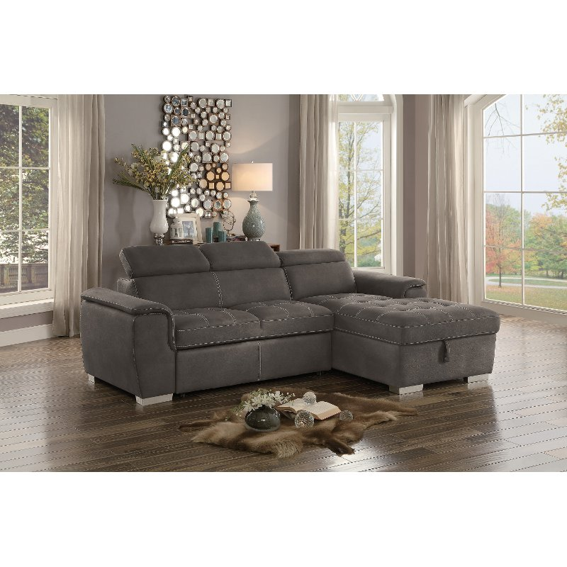 Taupe Sectional Sofa With Pullout Sofa Bed And Right Side Storage