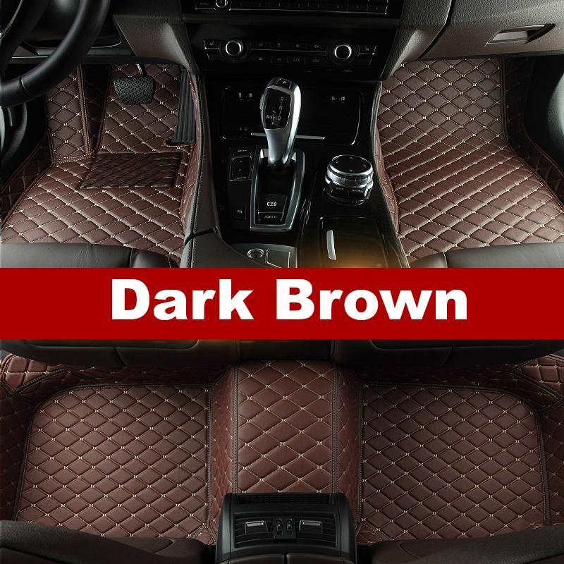 Luxury Diamond Stitched Floor Mats Dark Brown Tesla Full Set Pajero Sport C200 Honda