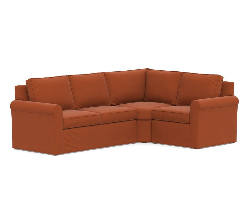 Terrific Cameron Slipcovered Left Arm 3 Piece Wedge Sectional Download Free Architecture Designs Sospemadebymaigaardcom