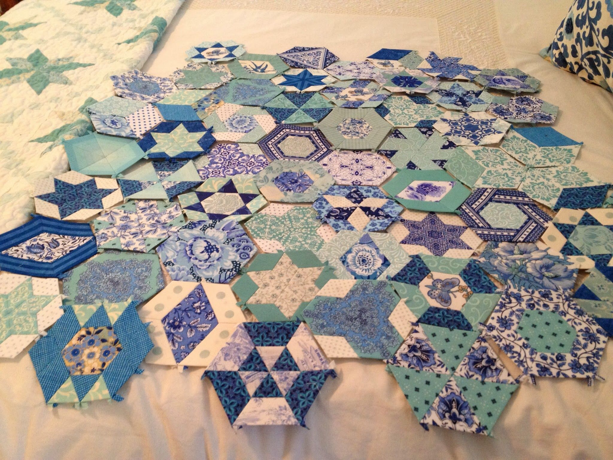 Feeling blue in 2020 hexagon quilt charm quilt paper