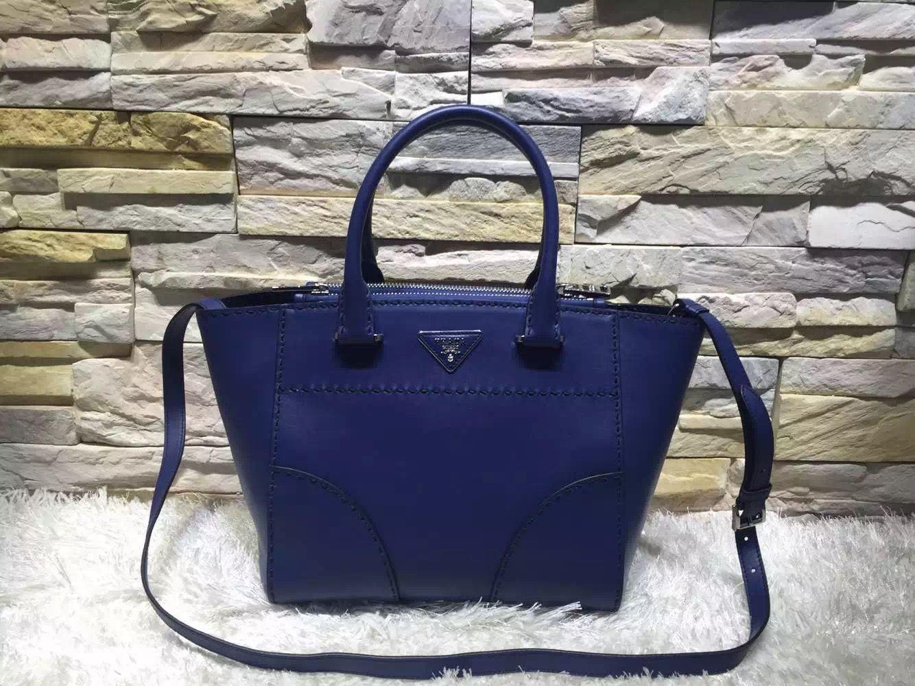 6560a0f439 Prada Hand-stitched City Calf Leather Tote B2861K Blue 2015 Prada Tote Bag