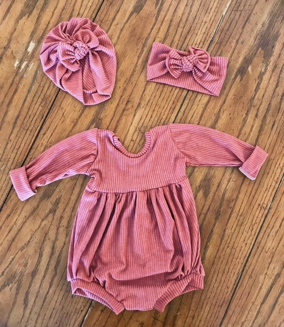 Photo of Rustic Long Sleeve Bubble Fall Romper, girl clothes, baby girl clothes, short romper, one piece, playsuit, matching set, red, rib knit